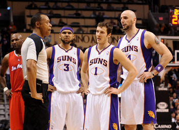 Phoenix Suns Jared Dudley, Goran Dragic, Marcin Gortat