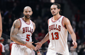Chicago Bulls' Carlos Boozer, Joakim Noah