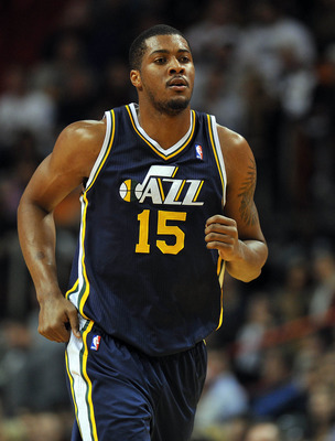 Dec 22, 2012; Miami, FL, USA; Utah Jazz power forward Derrick Favors (15) during the first half against the Miami Heat at American Airlines Arena. Mandatory Credit: Steve Mitchell-USA TODAY Sports