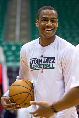 Jan 2, 2013; Salt Lake City, UT, USA; Utah Jazz point guard Alec Burks (10) warms up prior to a game against the Minnesota Timberwolves at EnergySolutions Arena. Mandatory Credit: Russ Isabella-USA TODAY Sports