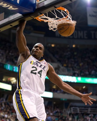 Jan 2, 2013; Salt Lake City, UT, USA; Utah Jazz power forward Paul Millsap (24) dunks during the second half against the Minnesota Timberwolves at EnergySolutions Arena. The Jazz defeated the Timberwolves 106-84. Mandatory Credit: Russ Isabella-USA TODAY