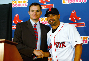 Cherington and Victorino smile for the future of the Red Sox.