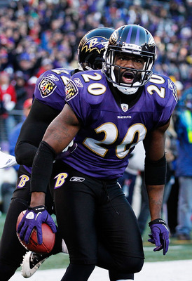 BALTIMORE, MD - JANUARY 15:  Ed Reed #20 of the Baltimore Ravens celebrates after intercepting a Houston Texans pass during the fourth quarter of the AFC Divisional playoff game at M&T Bank Stadium on January 15, 2012 in Baltimore, Maryland. The Ravens wo