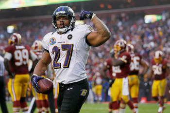LANDOVER, MD - DECEMBER 09: Running back Ray Rice #27 of the Baltimore Ravens celebrates after scoring a touchdown against the Washington Redskins during the fourth quarter of the Ravens 31-28 loss at FedExField on December 9, 2012 in Landover, Maryland.