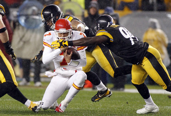 PITTSBURGH, PA - NOVEMBER 12:  Matt Cassel #7 of the Kansas City Chiefs is tackled by Lawrence Timmons #94 of the Pittsburgh Steelers during the game on November 12, 2012 at Heinz Field in Pittsburgh, Pennsylvania.  (Photo by Justin K. Aller/Getty Images)