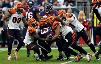 The Bengals' dangerous defensive line was held virtually invisible for the playoff game against the Texans.