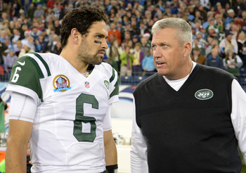 Jets QB Mark Sanchez and head coach Rex Ryan
