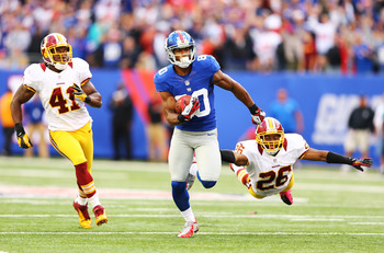 Victor Cruz running like he stole something, which he didan NFC East win over the Redskins in Week 7.