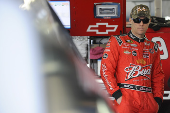 CONCORD, NC - DECEMBER 11:  Kevin Harvick, driver of the #29 Budweiser Chevrolet, looks on during testing at Charlotte Motor Speedway on December 11, 2012 in Concord, North Carolina.  (Photo by Jared C. Tilton/Getty Images for NASCAR)