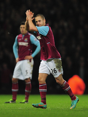 LONDON, ENGLAND - JANUARY 05:  Joe Cole of West Ham United looks on during the FA Cup with Budweiser Third Round match between West Ham United and Manchester United at the Boleyn Ground on January 5, 2013 in London, England.  (Photo by Jamie McDonald/Gett