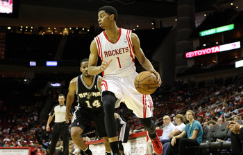 October 14, 2012; Houston, TX, USA; Houston Rockets guard Jeremy Lamb (1) controls the ball during the second half against the San Antonio Spurs at Toyota Center. Mandatory Credit: Troy Taormina-USA TODAY Sports