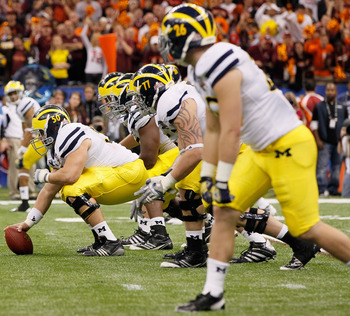 Michigan will have to rebuild its offensive line in 2013.