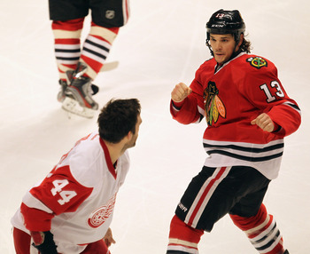 Daniel Carcillo will help pick up the Blackhawks when they get down.