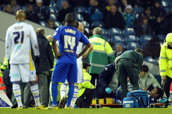 LEEDS, ENGLAND - JANUARY 5:   Birmingham City's Will Packwood is stretchered off during the FA Cup with Budweiser Third Round match between Leeds United and Birmingham City at Elland Road Stadium on January 5, 2013 Leeds, England. (Photo by Tim Keeton/Get