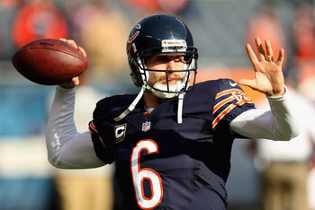 Jay Cutler warms up prior to the November 25th meeting against Minnesota