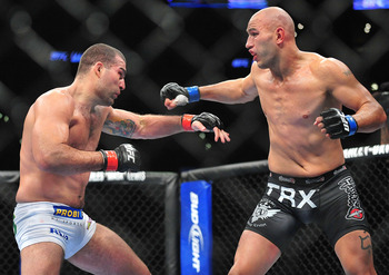 August 4, 2012; Los Angeles, CA, USA; Shogun Rua fights Brandon Vera during UFC on FOX at Staples Center. Mandatory Credit: Gary A. Vasquez-USA TODAY Sports