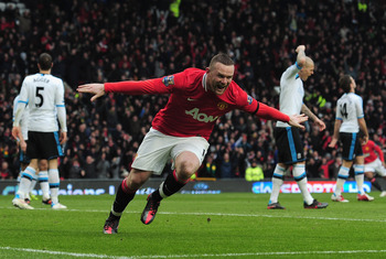 Manchester United striker Wayne Rooney scored twice in the 2-1 win over Liverpool in February 2012.