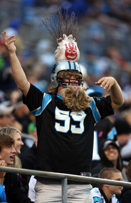 CHARLOTTE, NC - OCTOBER 07:  A fan cheers on the Carolina Panthers during their game at Bank of America Stadium on October 7, 2012 in Charlotte, North Carolina.  (Photo by Streeter Lecka/Getty Images)
