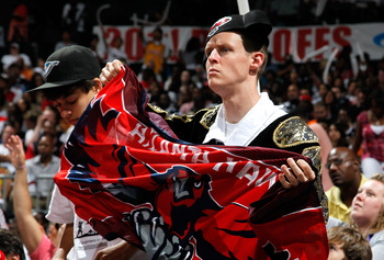 ATLANTA, GA - MAY 08:  A Atlanta Hawks fan dressed in a matador outfit cheers against the Chicago Bulls in Game Four of the Eastern Conference Semifinals in the 2011 NBA Playoffs at Phillips Arena on May 8, 2011 in Atlanta, Georgia.  NOTE TO USER: User ex