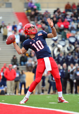Dec. 15, 2012; Albuquerque, NM, USA; Arizona Wildcats quarterback Matt Scott (10) against the Nevada Wolf Pack in the 2012 New Mexico Bowl at University Stadium. Arizona defeated Nevada 49-48. Mandatory Credit: Mark J. Rebilas-USA TODAY Sports