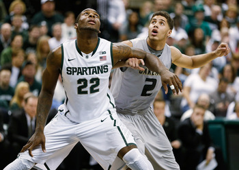 Branden Dawson brings power and energy to the Spartans' rebounding efforts.
