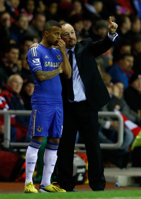 SUNDERLAND, ENGLAND - DECEMBER 8: Manager Rafa Benitez of Chelsea speaks to his player Ryan Bertrand (L) before he goes on during the Barclays Premier League match between Sunderland and Chelsea at the Stadium of Light on December 8, 2012, in Sunderland,