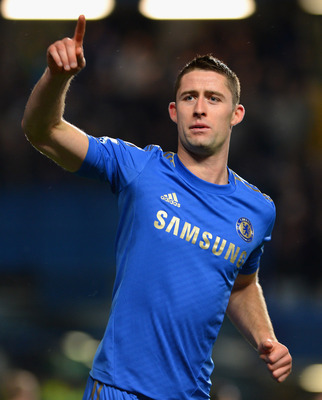 LONDON, ENGLAND - OCTOBER 31:  Gary Cahill of Chelsea celebrates his goal during the Capital One Cup Fourth Round match between Chelsea and Manchester United at Stamford Bridge on October 31, 2012 in London, England.  (Photo by Shaun Botterill/Getty Image