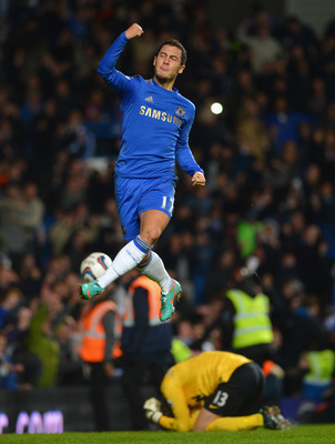 LONDON, ENGLAND - OCTOBER 31:  Eden Hazard of Chelsea celebrates his penalty during the Capital One Cup Fourth Round match between Chelsea and Manchester United at Stamford Bridge on October 31, 2012 in London, England.  (Photo by Shaun Botterill/Getty Im