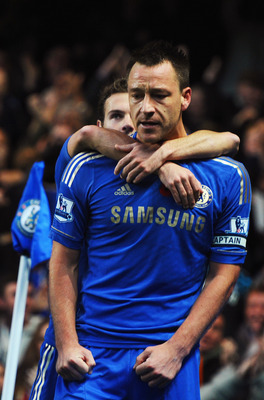 LONDON, ENGLAND - NOVEMBER 11:  John Terry (front) of Chelsea celebrates with team mate Juan Mata after scoring during the Barclays Premier League match between Chelsea and Liverpool at Stamford Bridge on November 11, 2012 in London, England.  (Photo by M