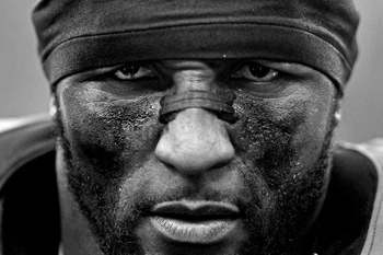 BALTIMORE, MD - JANUARY 06:(EDITORS NOTE: Image has been converted to black and white.)  Ray Lewis #52 of the Baltimore Ravens talks to the media after his final home game after defeating the  the Indianapolis Colts during the AFC Wild Card Playoff Game a