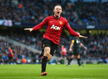 MANCHESTER, ENGLAND - DECEMBER 09:  Wayne Rooney of Manchester United celebrates the winning goal during the Barclays Premier League match between Manchester City and Manchester United at the Etihad Stadium on December 9, 2012 in Manchester, England.  (Ph