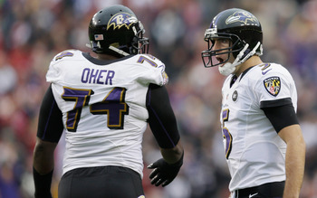The Ravens' offensive line can block for Ray Rice in the ground game, and protect the passer.