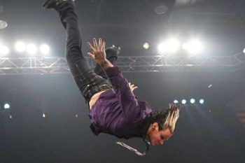Jeff Hardy performing the Swanton Bomb. Photo by: TNA
