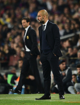 Pep Guardiola oversaw Barcelona's defeat of AC Milan in the Champions League quarterfinal last season.