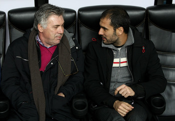 Carlo Ancelotti and Pep Guardiola pictured together at a benefit match in 2008.