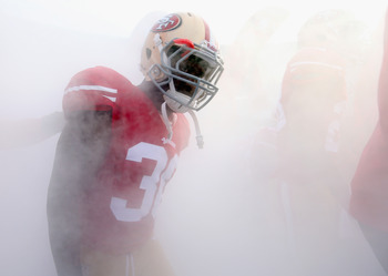 Trenton Robinson emerges from the fog before playing Detroit.