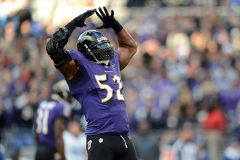 Ray Lewis, linebacker for the Baltimore Ravens.