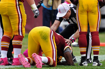 RGIII suffered a concussion against the Falcons, the first of two injuries that became big concerns for the Redskins organization.