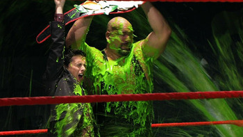 Big Show being slimed after his illustrious victory over The Miz. Photo Courtesy of Nick.com