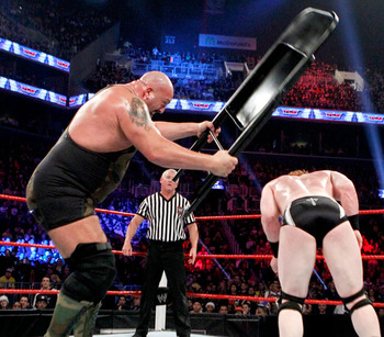 Big Show using a big chair to beat Sheamus...Get it? Photo Courtesy of WWE.com