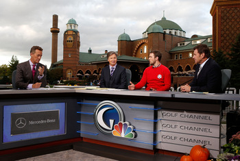 Golf Channel's sets and equipment were moved by barged to another island.