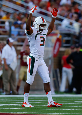 CHESTNUT HILL, MA - SEPTEMBER 01:  Tracy Howard #3 of the Miami Hurricanes in action against the Boston College Eagles during the game on September 1, 2012 at Alumni Stadium in Chestnut Hill, Massachusetts.  (Photo by Jared Wickerham/Getty Images)