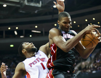 Chris Bosh gives up some girth, but sometimes he goes and gets it.