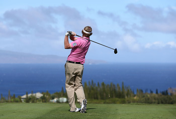 Brandt Snedeker after a tee shot at Kapalua