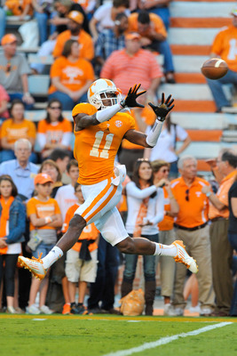 Sep 22, 2012; Knoxville, TN, USA; Tennessee Volunteers wide receiver Justin Hunter (11) during warm ups prior to the game against the Akron Zips at Neyland Stadium. Tennessee defeated Akron 47-26. Mandatory Credit: Jim Brown-USA TODAY Sports