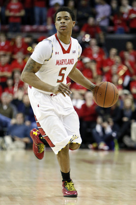 Jan 9, 2013; College Park, MD, USA; Maryland Terrapins guard Nick Faust (5) runs the offense against the Florida State Seminoles at the Comcast Center. Mandatory Credit: Mitch Stringer-USA TODAY Sports