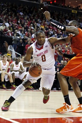 Jan 5, 2012; College Park, MD, USA; Maryland Terrapins forward Charles Mitchell (0) drives to the basket against the Virginia Tech Hokies at the Comcast Center. Mandatory Credit: Mitch Stringer-USA TODAY Sports