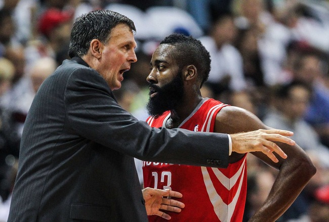 Nov 2, 2012; Atlanta, GA, USA; Houston Rockets head coach Kevin McHale talks to shooting guard James Harden (13) and teammates during a time out in the first half against the Atlanta Hawks at Philips Arena. Mandatory Credit: Daniel Shirey-USA TODAY Sports