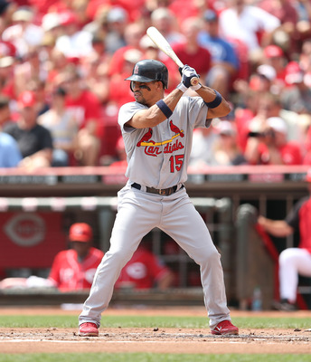 CINCINNATI, OH - AUGUST 26: Rafael Furcal #15 of the St. Louis Cardinals during the game against the Cincinnati Reds at Great American Ball Park on August 26, 2012 in Cincinnati, Ohio.  (Photo by Andy Lyons/Getty Images)