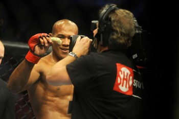Jan 12, 2013; Oklahoma City, OK, USA; Ronaldo Souza after defeating  Ed Herman (not shown) in their Strikeforce MMA Middleweight bout at the Chesapeake Energy Arena.  Mandatory Credit: Mark D. Smith-USA TODAY Sports